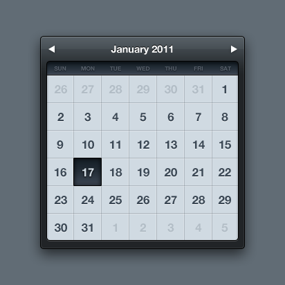 mega3 60 User Interface Calendar Inspirations and Downloads