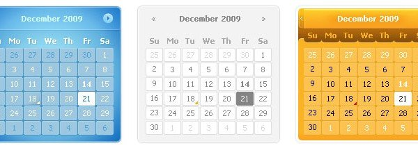Calendars PSD 600x213 60 User Interface Calendar Inspirations and Downloads