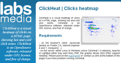 clickheat 25 Tools to Improve Your Websites Usability