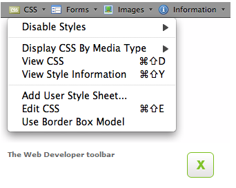 web developer toolbar