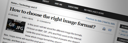 How to choose the right image format? - screen shot.