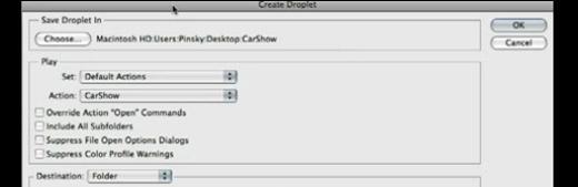 Photoshop CS4: Droplets - screen shot.