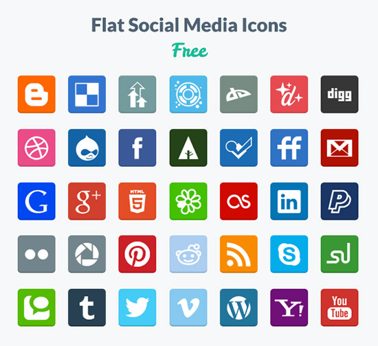 Flat Social Media Icons (PNG & PSD)