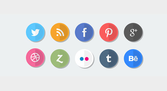 Flat Round Social Icons Free PSD