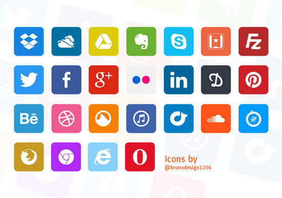 Flat Social Icons Free PSD